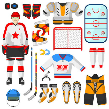 elbow pads: Hockey uniform and accessory set in flat style. Vector Isolated hockey uniform equipment and athlete. Hockey clothes equipment and accessories.