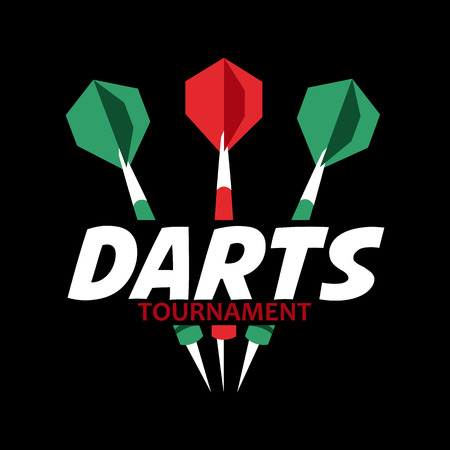 Darts label. Badge sporting symbols. Darts, dartboard, ribbon for sport, sporting leisure design. Vector Illustration.