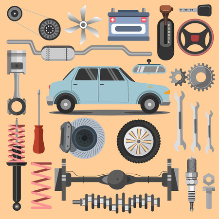 spare: Repair of machines and equipment.  Flat vector illustration. Isolated on white.