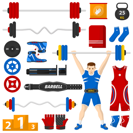 health and fitness: A man with a barbell over his head. Barbell equipment set. Bodybuilding or fitness icons set. Vector Collection. Isolated Illustration.
