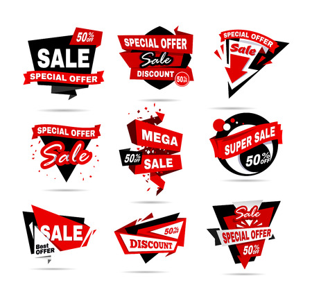 Super Sale poster set. Big sale, clearance banner collection. Vector illustration.