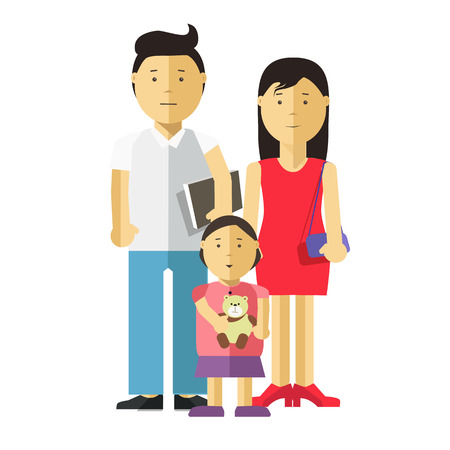 happy couple: Portrait of happy family together: mother, father and child. Young couple of husband and wife and their daughter. Vector illustration with daddy, mom and kid. Isolated on white backround. Flat style.