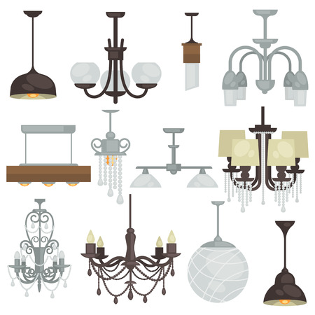 lamps: Chandelier various vintage luxury type set. Different hanging lamp collection for interior design. Vector Illustration. Isolated on white. Illustration