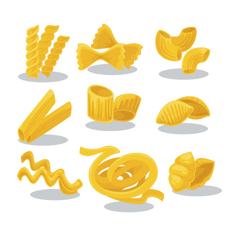Vector set foods of wheat. Italian cuisine pasta and macaroni, fusilli, spaghetti and penne, farfalle and tagliatelle. Cartoon illustration isolated on white background. Vettoriali