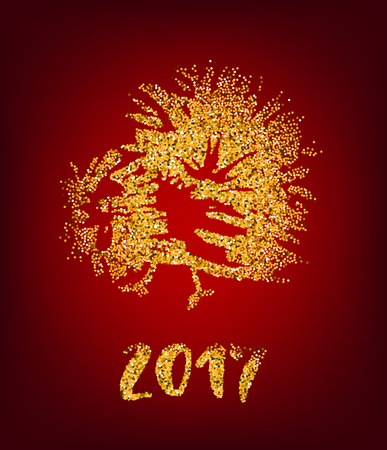 red animal: Golden rooster on red background. Chinese calendar Zodiac for 2017 New Year of cock. Traditional asian culture animal symbol. Vector illustration with gold sparks for your design. Illustration