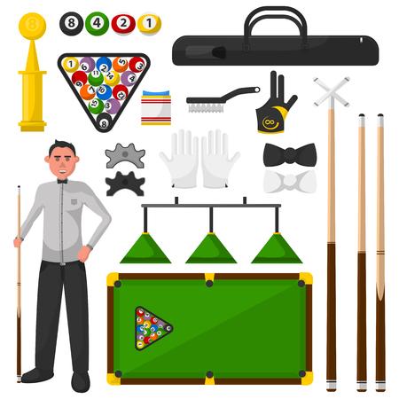 snooker rooms: Billiards flat illustration. Billiardist with game equipment. Vector Illustration. Isolated on white.
