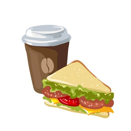 Sandwich and cup of coffee. Fast food for breakfast, snack with bread and sausage, vegetables, lettuce and cheese. Icon in flat style. Vector illustration of isolated on white background. Illustration