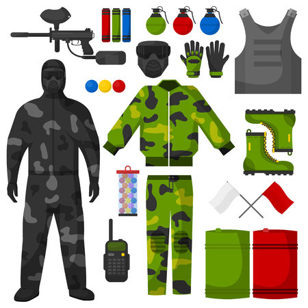 aim: Paintball icons set. Paintball equipment collection. Flat vector illustration. Isolated on white.