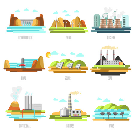 Electricity generation plants and sources solar, wind, water, petroleum, coal, geothermal, gas, nuclear and biofuel. Vector Illustration. Isolated on white.
