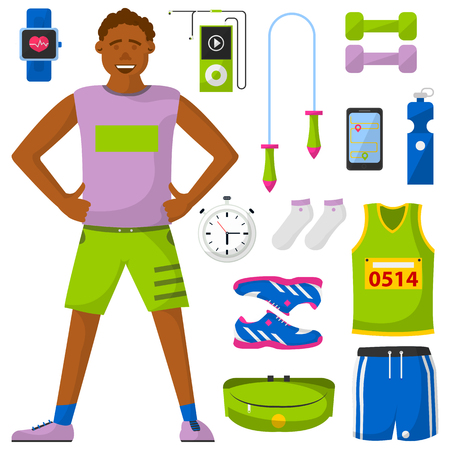 Runner and run equipment set. All for running collection. Vector flat illustration. Isolared on white.