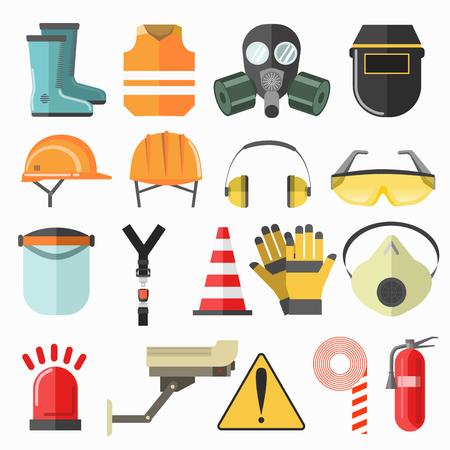 안전 작업 아이콘입니다. 직장에서 안전 벡터 아이콘 컬렉션입니다. 벡터 플랫 그림입니다.