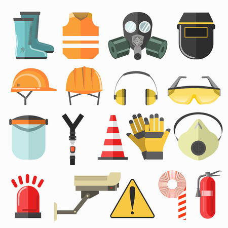 industrial industry: Safety work icons. Safety at work vector icons collection. Vector flat illustration.