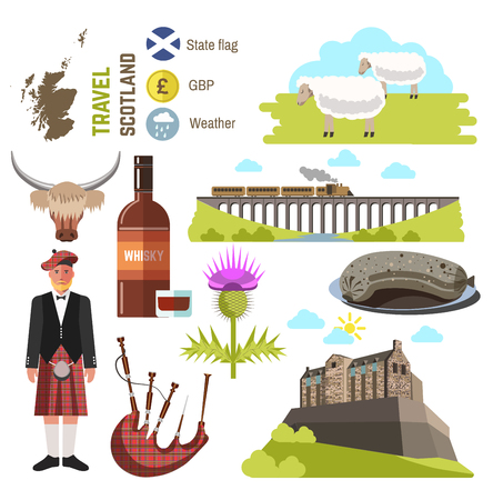 Scotland travel collection. Vector Illustration. Isolated on white.
