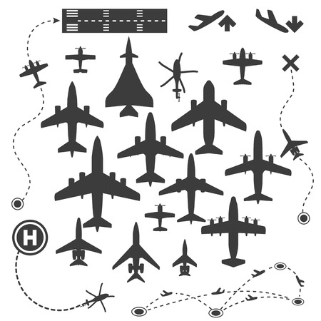 jet: Aircraft or Airplane Silhouette Icons Set Collection Vector Illustration