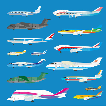 jet: Different airplane aircraft set. Personal airplane, cargo. Airplane side view illustration. Illustration