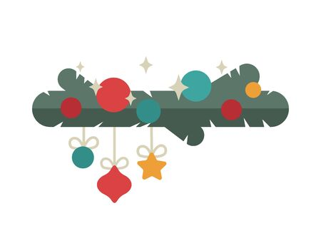 Christmas tree design template card. Flat style. Vector background