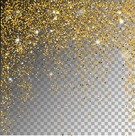 Dalende sneeuwgouden glitterdeeltjes op een transparante sparkelachtergrond. Abstracte sneeuwvlok achtergrond. Vector illustratie