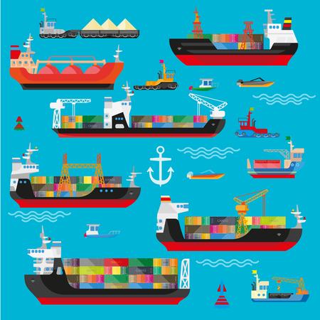 Ships, boats, cargo, logistics, transportation and shipping icons set. Vector flat illustration. Illustration