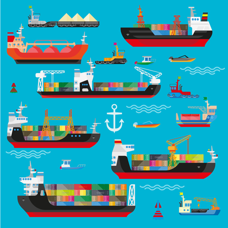 Ships, boats, cargo, logistics, transportation and shipping icons set. Vector flat illustration. Illustration