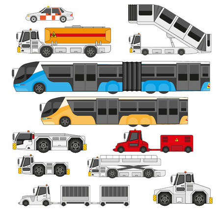 airfield: Airport ifrastructure transportation flat set. Different types of transport on the airfield, isolated airport equipment.