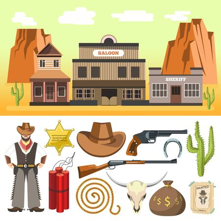 waggon: Cowboy icons set  and wild west scene with dynamite skull gun hat horseshoe. Flat isolated vector illustration