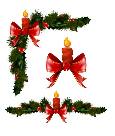 jingle bells: Christmas decorations with fir tree golden jingle bells and decorative elements. vector illustration