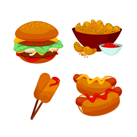 dog eating: Set of fast food meals. Collection of cartoon snack icons burger and sausage, french fries and hot dog, cola and beer, pizza and bagels. Vector illustration isolated on white.