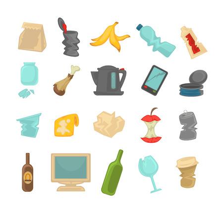 Ordures triant les déchets alimentaires, verre, métal et papier, plastique électronique, icônes biologiques définies. Illustration vectorielle. Vecteurs