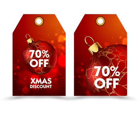 special price: Set of price tag with decoration ball or labels. special price, holiday discount. Christmas discount. Vector Illustration.