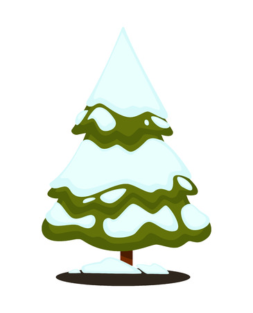 Merry Christmas greeting card. Winter holiday illustration with fir pine tree and snow on blue background. New Year or xmas symbol. Vector design for december celebration in cartoon style.
