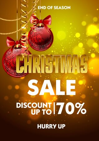 Christmas sale design poster template with shiny decoration ball. Discount advertising. Vector Illustration. Illustration