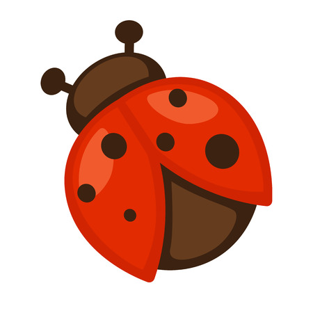 Ladybug. Icon of bright small insect with antenna. Cartoon vector illustration in flat style isolated on white background. Illustration