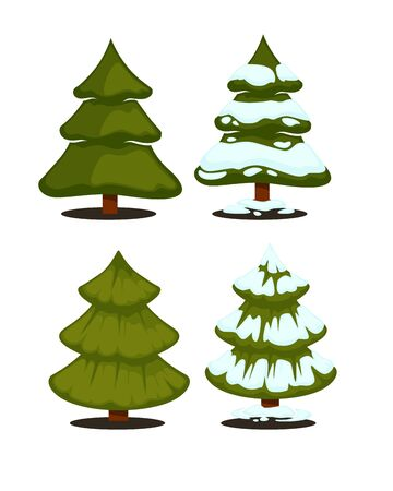 fir trees: Christmas tree Set of christmas green trees. Winter christmas tree holiday design elements: xmas fir with snow. Christmas tree Cartoon style. Isolated vector.