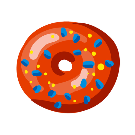 Set of tasty donuts. Vector Illustration. Isolated on white.