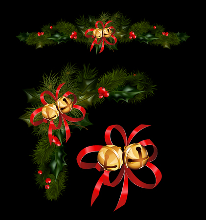 Christmas Decorations With Fir Tree Golden Jingle Bells And Custom Decorative Jingle Bells