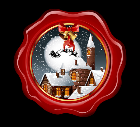 nighty: Christmas illustration of wax seal with snowy town and santa claus flying on his sleigh on the nighty skies. Vector Illustration.