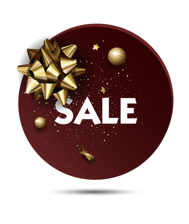 tienda de ropa: Christmas or New year holiday sale price circle sticker with golden Bow. Promotion advertisement design. Vector Illustration.