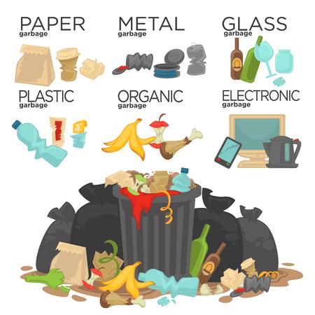Basura clasificación de los residuos de alimentos, vidrio, metal y papel, plástico electrónica, orgánica. Pila de que huele a basura en descomposición se extiende alrededor. Ilustración del vector.