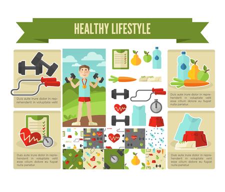 Gesunder Lebensstil. Vektor-Wellness-Konzept flach Illustration.