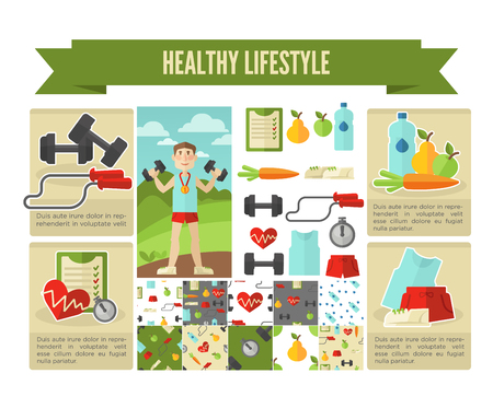 lifestyle: Healthy lifestyle. Vector wellness concept flat Illustration.
