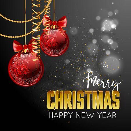 メリー クリスマスと新年あけましておめでとうございますデザイン テンプレート カード。ベクトル休日イラスト。