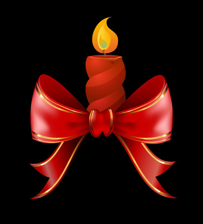 Christmas candle combined with red bow ribbon Christmas illustration vector.