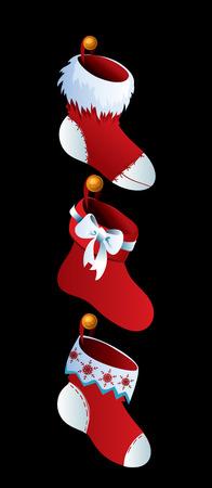 warm clothing: Cute Christmas Socks - vector cartoon Illustration