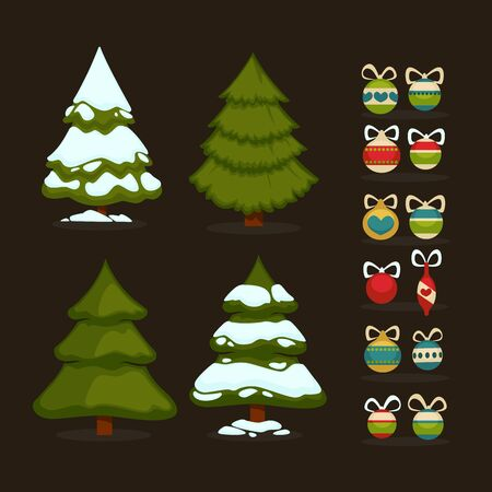tree design: Christmas tree Set of christmas green trees and decoration ball. Winter christmas tree holiday design elements xmas fir with snow and decoration. Christmas tree Cartoon style. Isolated vector.