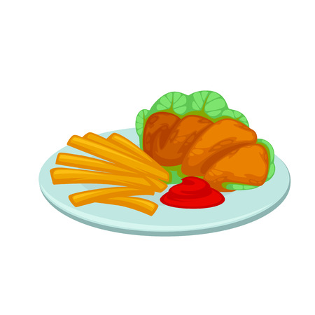 nuggets: Chicken nuggets, french fries with sauce. Meal in american fast food restaurant crunchy poultry in breaded, french potatoes with ketchup. Icon in flat style. Vector illustration of isolated on white