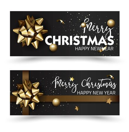 happy web: Merry Christmas or Happy New Year web banner design template. Greeting cards with golden bows and copy space. Vector illustration.