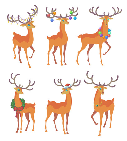 running nose: Reindeer Christmas icon. Graceful deer collection. Holiday vector illustration