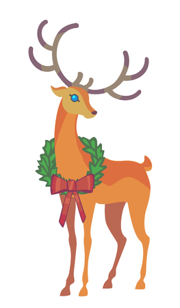 claus: Reindeer Christmas icon. Graceful deer collection. Holiday vector illustration