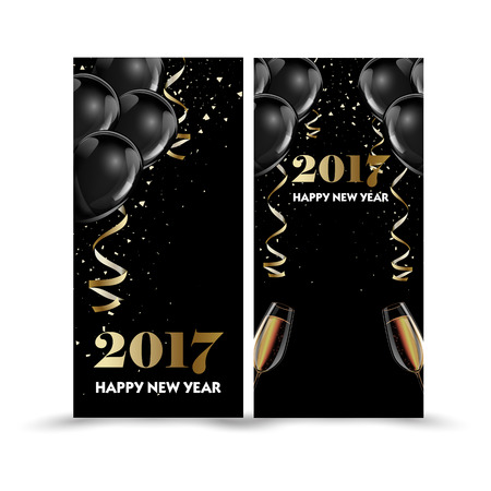 grand sale: Set of luxury Christmas, New Year banner templates with black hot air baloons. Vector Illustration Illustration