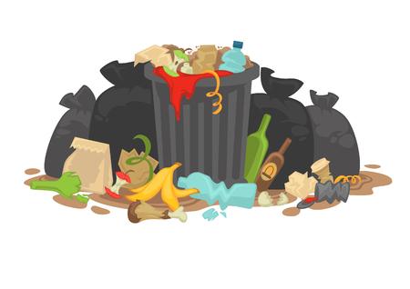 Pila de basura en descomposición. Ilustración vectorial.